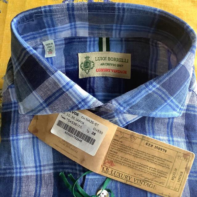 LUIGI BORRELLI(ルイジボレッリ)の新品タグ付き!ルイジボレッリ ラグジュアリーヴィンテージ リネンネイビーブルー メンズのトップス(シャツ)の商品写真
