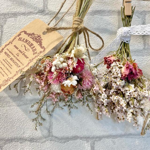 ドライフラワー スワッグ ガーランド❁358 ピンク薔薇 スターチス白 花束 ハンドメイドのフラワー/ガーデン(ドライフラワー)の商品写真
