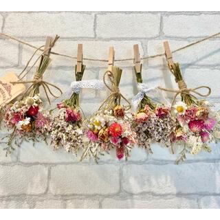 ドライフラワー スワッグ ガーランド❁358 ピンク薔薇 スターチス白 花束(ドライフラワー)