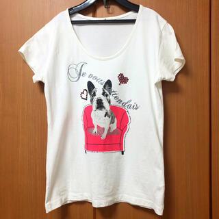 アフタヌーンティー(AfternoonTea)のAfternoon tea Tシャツ フレンチブルドッグ 綿 ラインストーン(Tシャツ(半袖/袖なし))