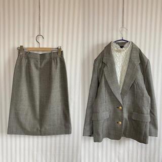 古着 ビンテージ チェックジャケット セットアップ スーツ レトロ ビンテージ(ロングワンピース/マキシワンピース)