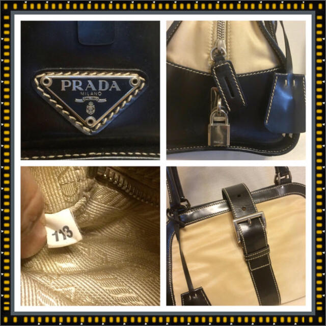PRADA(プラダ)のことり様専用❗️プラダ★ショルダーにもなる♡ベージュ&ブラックボストンバック★ レディースのバッグ(ボストンバッグ)の商品写真