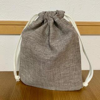 【匿名配送】コップ袋 給食袋 18×20cm コットンリネン ブラウン(外出用品)