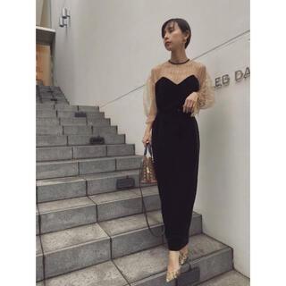 アメリヴィンテージ(Ameri VINTAGE)のAMERI   TULLE SLEEVE DRESS(ロングドレス)