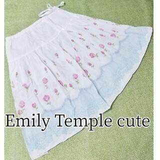 エミリーテンプルキュート(Emily Temple cute)のEmliytemple cuteローズレース柄 リボンスカート綿コットン(ひざ丈スカート)