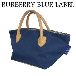 バーバリーブルーレーベル(BURBERRY BLUE LABEL)のバーバリー ブルーレーベル チェック ナイロン キャンバス ハンド バッグ(ハンドバッグ)