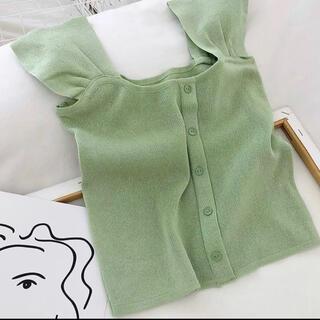 【新品】トップス フリーサイズ 韓国ファッション(Tシャツ/カットソー(半袖/袖なし))