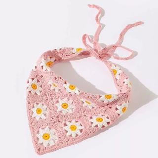 フラワーレトロ三角巾💖ピンク 花柄(帽子)