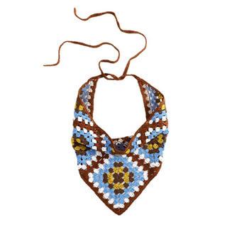 クロシェニット三角巾💙手編み レトロ(その他)