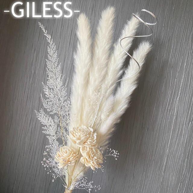 w* パンパスグラス テールリード ソーラーローズ 白 ホワイト スワッグ ハンドメイドのフラワー/ガーデン(ドライフラワー)の商品写真