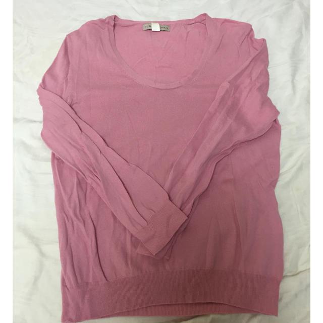 HUMAN WOMAN(ヒューマンウーマン)のピンクのコットンカットソー レディースのトップス(カットソー(長袖/七分))の商品写真