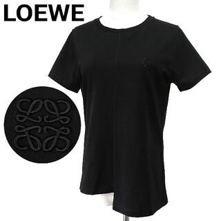 ロエベ(LOEWE)の美品 LOEWE Tシャツ アナグラム刺繍 アシンメトリー 黒 レディース M(Tシャツ(半袖/袖なし))
