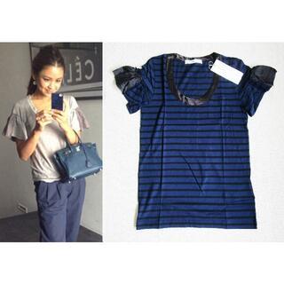 サカイラック(sacai luck)のサカイラック sacailuck フリルカットソー Tシャツ 紺ボーダー(カットソー(半袖/袖なし))
