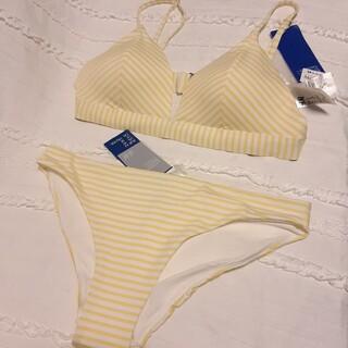 エイチアンドエム(H&M)のH&M 水着 ビキニ ストライプ 白 黄色 C80 Lサイズ ブラジャー(水着)