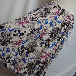 ツモリチサト(TSUMORI CHISATO)の美品 ツモリチサト ギャザー加工がお洒落な花柄ミモレ丈スカート サイズ2(ロングスカート)