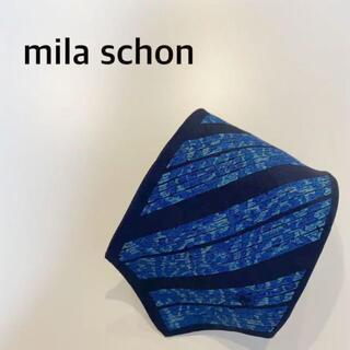 ミラショーン(mila schon)のmila schon ネクタイ 青 ストライプ ブルー ペイズリー(ネクタイ)