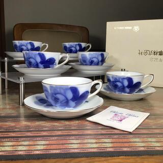 オオクラトウエン(大倉陶園)の大倉陶園 『ブルーローズ』 紅茶兼用 カップ&ソーサー 6客(食器)