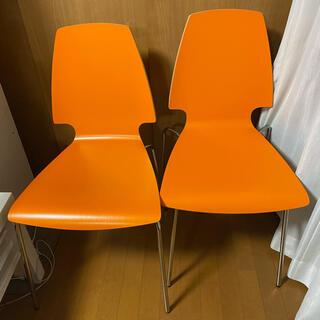 イケア(IKEA)の美品 オレンジのIKEAのイス 二脚セット゚・*:.。. .。.:*・゜(ダイニングチェア)