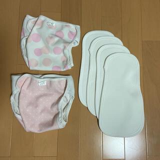 ニシマツヤ(西松屋)の80布おむつカバー2点 未使用成形おむつ4枚セット(布おむつ)