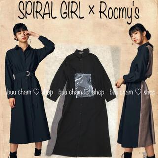 スパイラルガール(SPIRAL GIRL)のSPIRAL GIRL×Roomy's♡スウィッチングシャツガウンワンピース(ロングワンピース/マキシワンピース)