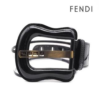 フェンディ(FENDI)の《希少》FENDI ベルト ブラック エナメル ハイウエスト FFロゴ ピン式(ベルト)