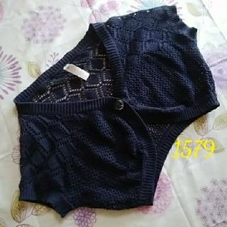 ニシマツヤ(西松屋)の1579美品カーディガンキッズボレロ風かぎ編み(カーディガン)