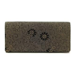 アザー(other)の美品 印傳屋 INDEN-YA 長財布 二つ折り 花柄 フラワー 茶 黒(財布)