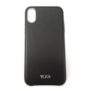 トゥミ(TUMI)のトゥミ TUMI スマホケース iPhon X XS レザー ロゴ 黒 ブラック(iPhoneケース)