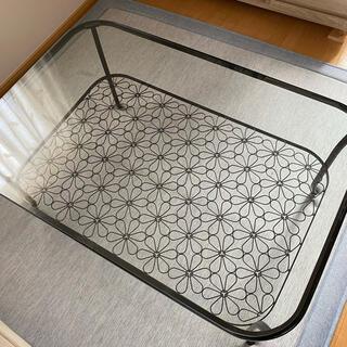 イケア(IKEA)のIKEA*ガラステーブル*花柄/フランフラン(ローテーブル)