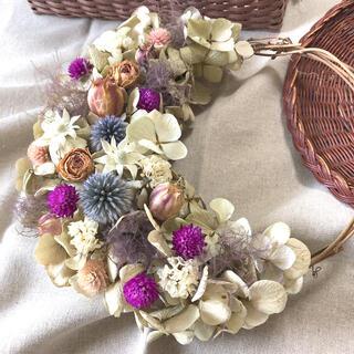 紫陽花のナチュラルリース♡ドライフラワーリース(ドライフラワー)