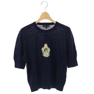 アニエスベー(agnes b.)のアニエスベー agnes b. ニット シルク リネン混 セーター 半袖 2 紺(ニット/セーター)