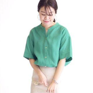 シップスフォーウィメン(SHIPS for women)のSHIPS テレデランリネンバンドカラーシャツ(シャツ/ブラウス(半袖/袖なし))