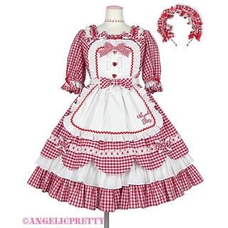 アンジェリックプリティー(Angelic Pretty)のAngelic Pretty Heart CafeワンピースSet アカ(ミニワンピース)
