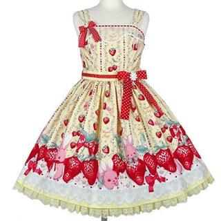 アンジェリックプリティー(Angelic Pretty)のLittle Bunny Strawberry ジャンパースカート セット(ミニワンピース)
