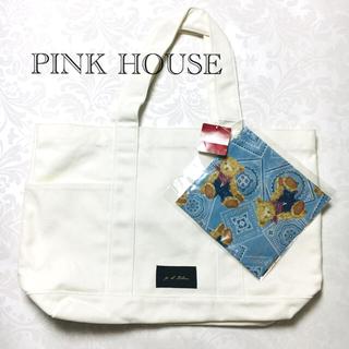 ピンクハウス(PINK HOUSE)のPINK HOUSE キャンバストートバッグ ホワイト クマ柄バンダナ付 新品(トートバッグ)