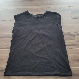 ヘザー(heather)のHeather ノースリーブ F ブラック(Tシャツ(半袖/袖なし))