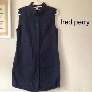 フレッドペリー(FRED PERRY)のfred perry フレッドペリー ノースリーブワンピース ネイビー ドット(ひざ丈ワンピース)
