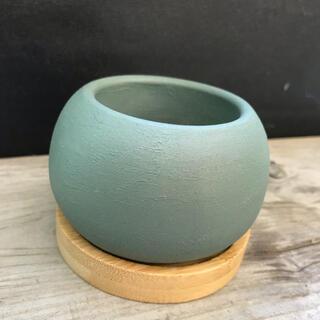 オシャレセメント鉢 竹受け皿付き(プランター)