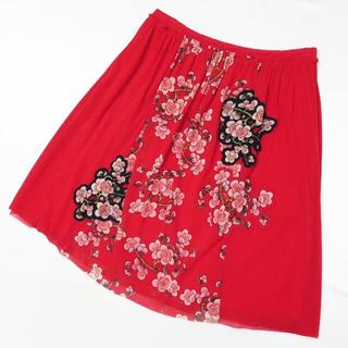 ヴィヴィアンタム(VIVIENNE TAM)のヴィヴィアンタム  フラワー パワーネット スカート(ひざ丈スカート)