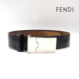 フェンディ(FENDI)の《一点物》FENDI ベルト シルバー 本革 トップ式 ブラック シンプル(ベルト)