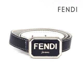 フェンディ(FENDI)の《希少》FENDI jeans ベルト ネイビー 本革 トップ式 FFロゴ(ベルト)