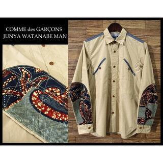 ジュンヤワタナベコムデギャルソン(JUNYA WATANABE COMME des GARCONS)の美品 ジュンヤワタナベ 16ss インディゴ藍染 パッチワーク 切替 シャツ S(シャツ)