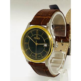 フェンディ(FENDI)の極美品!FENDI メンズ腕時計 ブラック×ゴールドカラー ドーム型風防(腕時計(アナログ))