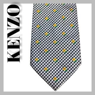ケンゾー(KENZO)の【大人気】ケンゾー KENZO ネクタイ 最高級シルク シルバー系 チェック(ネクタイ)