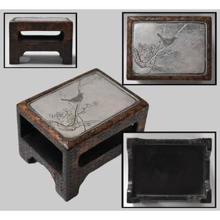 銀板彫刻 墨床 花 鳥 松 時代物 筆架 書道具 細密彫刻 銀製品WWWT035(彫刻/オブジェ)