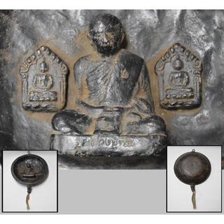 中国 明時代 木彫黒漆掛仏 唐物 懸仏 仏教美術 仏像 木製 木彫WWWT046(彫刻/オブジェ)