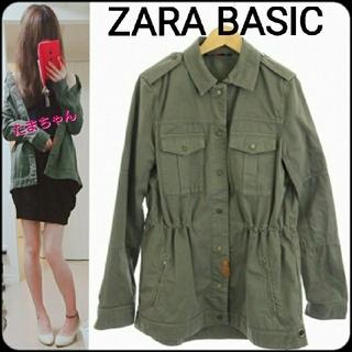 ZARA - ZARA BASIC ミリタリー シャツ ジャケット カーキ アウター