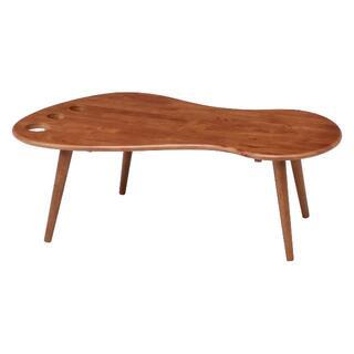 足型センターテーブル ミディアムブラウン(ローテーブル)