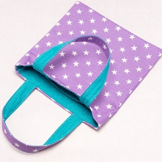 ハンドメイド手さげ⑨星ラベンダー×ターコイズブルーミニバッグ 持ち手色違い(外出用品)