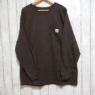 カーハート(carhartt)の美品 カーハート ロングTシャツ 茶色 XL ビックサイズ ワンポイントロゴ(Tシャツ/カットソー(七分/長袖))
